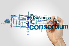 Consortium word cloud. Concept on grey background stock photo
