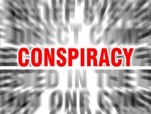 Conspiracy. Blurred text with focus on vector illustration