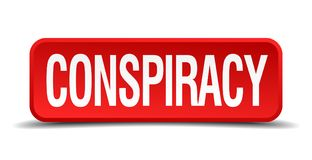 Conspiracy button. Conspiracy square 3d realistic isolated web button. conspiracy vector illustration