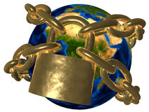 Conspiracy - Earth in golden chain - Europe vector illustration