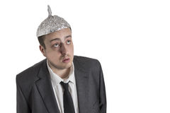 Conspiracy Freak with aluminum foil head Royalty Free Stock Photos