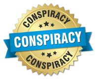 Conspiracy. Gold badge with blue ribbon stock illustration