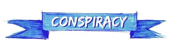 Conspiracy ribbon. Conspiracy hand painted ribbon sign vector illustration