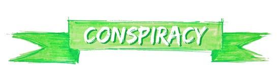 Conspiracy ribbon. Conspiracy hand painted ribbon sign royalty free illustration