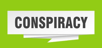 Conspiracy. Sign.  paper origami speech bubble.  tag.  banner royalty free illustration