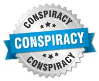 Conspiracy. Silver badge with blue ribbon vector illustration