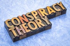 Conspiracy theory text in wood type. Conspiracy theory - word abstract in vintage letterpress wood type royalty free stock photography