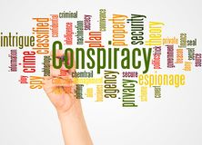 Conspiracy word cloud and hand with marker concept. On white background royalty free stock photos