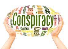 Conspiracy word cloud hand sphere concept. On white background stock images