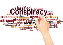 Conspiracy word cloud hand writing concept. On white background stock photo