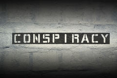 Conspiracy WORD RG. Conspiracy stencil print on the grunge white brick wall Royalty Free Stock Photography