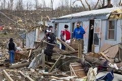 Conséquence de tornade dans Henryville, Indiana Images libres de droits