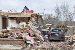 Conséquence de tornade dans Henryville, Indiana Images stock
