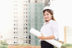 Consrtuction da mulher de negócios Imagem de Stock