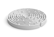 consruction rond blanc du labyrinthe 3D d'isolement sur le fond blanc Photos stock