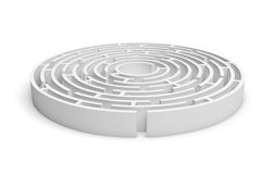 consruction rotondo bianco del labirinto 3D isolato su fondo bianco Fotografia Stock Libera da Diritti
