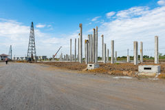 Consruction site with  precast concret pile and pile-driver Stock Photography