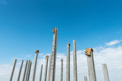 Consruction site with  precast concret pile and pile-driver Royalty Free Stock Photography