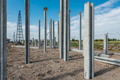 Consruction site with  precast concret pile and pile-driver Royalty Free Stock Photo