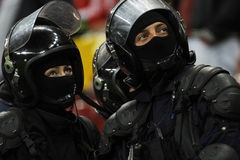 Constabulary forces. Posing during football game, Bucharest, Romania Royalty Free Stock Photos