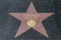 Constance Collier star on the Hollywood Walk of Fame. HOLLYWOOD, CA - DECEMBER 06: Constance Collier`s star has been replaced after vandalizing on the Hollywood royalty free stock photo