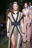 Constance Jablonski walks the runway during the Balmain show as part of the Paris Fashion Week Royalty Free Stock Photo