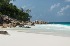 Constance Lemuria海滩,塞舌尔群岛 免版税库存照片