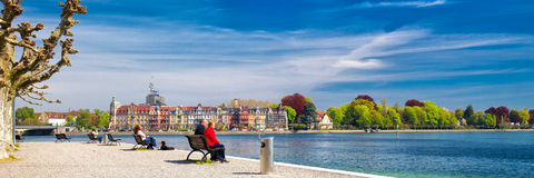 CONSTANCE, SWITZERLAND - April 2017 - Promenade in Konstanz city center with Lake Constance, Germany Royalty Free Stock Images