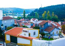 Constancia and river Tagus in Portugal. A view of the town of Constância, in Ribatejo province, Santarém district, Portugal, with the Tagus river in the Royalty Free Stock Photos