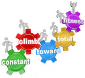 Constant Climb Toward Total Fitness People Walking. Several people walking on gears with words spelling the phrase Constant Climb Toward Total Fitness stock illustration