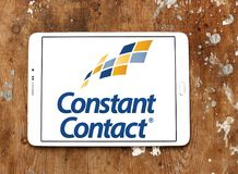 Constant Contact marketing company logo. Logo of Constant Contact on samsung tablet on wooden background. Constant Contact, Inc. is an online marketing company Stock Photo
