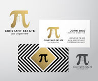 Constant Estate Abstract Vector Premium Business Card Template. Pi Sign with Negative Space Buildings as a Logo Stock Image