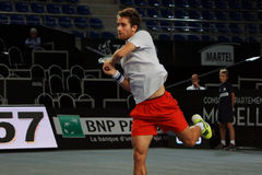 Constant Lestienne (FRA). METZ, FRANCE - SEPTEMBER 21, 2015: Constant Lestienne (FRA) during his match against Kenny De Schepper (FRA) at the Moselle Open in Royalty Free Stock Image
