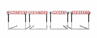 Constant Practice Makes Perfect Jumping Over Hurdles. Words Royalty Free Stock Image