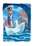 The Constant Tin Soldier. The soldier floats by the paper ship Royalty Free Stock Photography