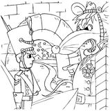 Constant Tin Soldier and Rat. Black-and-white illustration (coloring page): the characters of the fairytale the Constant Tin Soldier Stock Photography