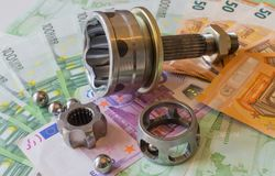 Constant-velocity joints against the background of Euro banknote Royalty Free Stock Photo
