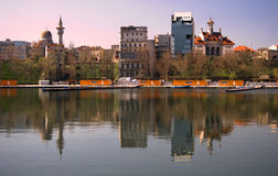 Constanta. View of the city of Constanta reflected in the Black sea,at sunrise Stock Images