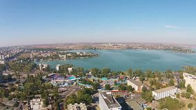 Constanta City and Mamaia , Romania, aerial panning. Constanta ,a major city on the Black Sea coast, Eastern Europe and  Mamaia holiday resort, a top travel stock video