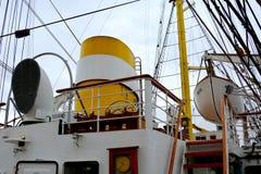 Constanta harbor at Black Sea. Mast. Marine Ship-School `Mircea` Royalty Free Stock Image
