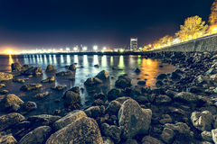Constanta Harbor. Nightscene of Constanta Harbor with the seafront to the right Royalty Free Stock Images