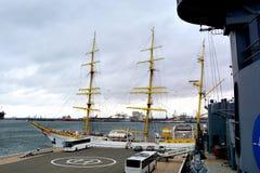 Constanta harbour at Black Sea. Marine Ship-School `Mircea` Royalty Free Stock Photos