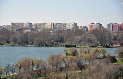 Constanta lake. Constanta is the second big city in Romania situated on the Black Sea coast. This is a view of Constanta exhibition complex on Tabacariei lake Stock Photography