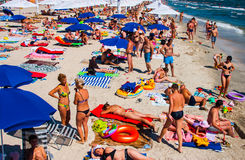 CONSTANTA, ROMANIA - AUGUST 21, 2010. Beach with tourists, a top view Stock Photo