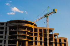 CONSTANTA, ROMANIA - AUGUST 21, 2010. Construction of high-rise house on the lake. Stock Image