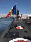 The Kilo-Class Submarine Delfinul. CONSTANTA, ROMANIA - AUGUST 11, 2018: Persons visiting the Romanian Naval Forces kilo-class submarine Delfinul, on the stock photo