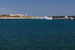 Constanta Tomis harbor at Black Sea Stock Photo