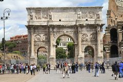 Constantin arch. Just next Coliseum, one of most well known monument in Roma historic quarter Stock Photography