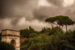 Constantin Arch in Rome. The arch of constantin on a gloomy afternoon Royalty Free Stock Photos