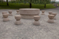 The Table Of Silence is a stone sculpture made by Constantin Brancusi Stock Images